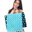 Excited young shopaholic woman posing — Foto de Stock
