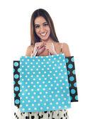Gorgeous pretty girl holding shopping bags — Stock Photo