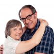 Senior couple in love hugging each other — Stock Photo #11421694