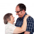 Aged couple in a romantic mood — Stock Photo