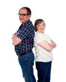 Trendy smiling senior love couple — Stock Photo