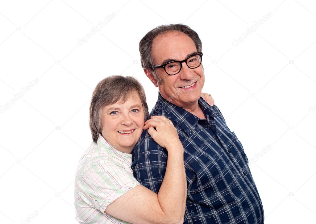 Closeup portrait of cheerful senior couple. Loving and affectionate — Stock Photo #11421709
