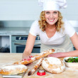 Bakery woman preparing healthy food — Stock Photo