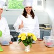 Professional female chefs showing thumbs up — Stock Photo
