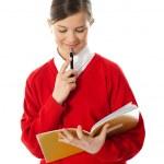 女孩想和看着她的笔记本 — 图库照片