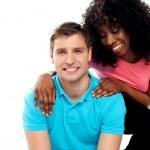 Attractive teenage love couple posing — Stock Photo