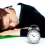 Tired schoolboy sleeping on calculator — Stock Photo #11782062