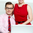 Portrait of business team. Man and woman — Stock Photo