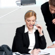 Woman discussing problem with male colleague — Stock Photo