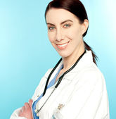 Closeup portrait of charming female doctor — Stock Photo