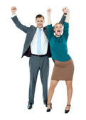 Excited business celebrating success — Stock Photo