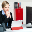 Serious business lady looking right into camera — Stock Photo