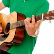 Cropped image of a man playing guitar — Stock Photo