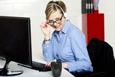 I am at work, what do you need? — Stock Photo
