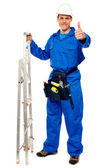 Repairman holding ladder and showing thumbs up — Stock Photo