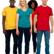 Full length portrait of causal young four friends — Stock Photo