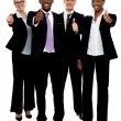 Business team group gesturing thumbs up — Stock Photo