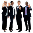 Successful corporate team showing ok symbol — Stock Photo
