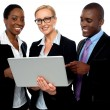 Stock Photo: Team of friendly business using laptop