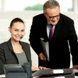 Team of two business executives working in office - Stock Photo
