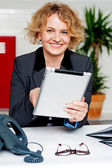 Cheerful businesswoman using portable tablet — Stock Photo