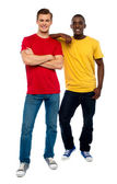 Full length portrait of casual young dudes — Stock Photo