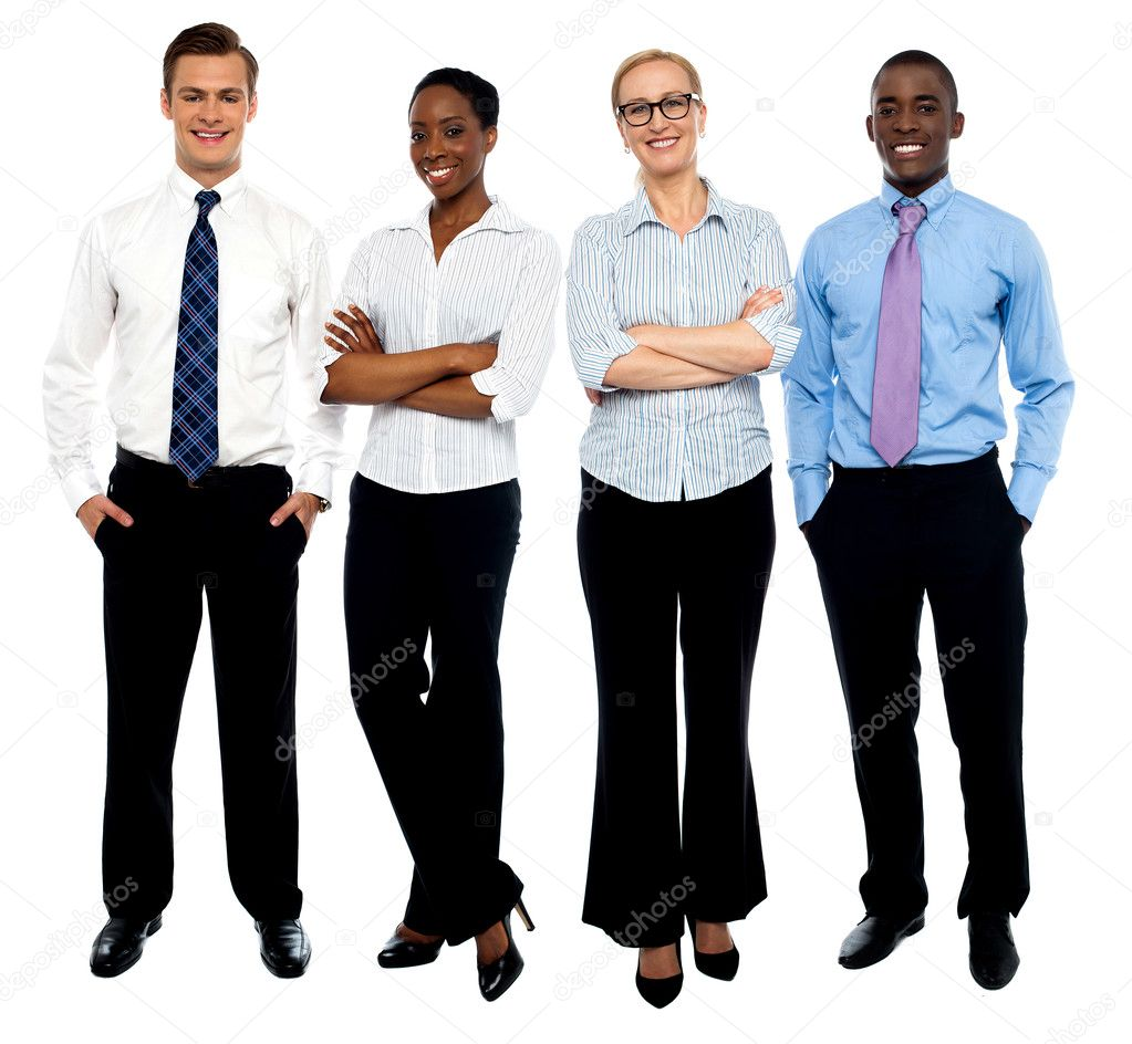 Stylish portrait of four business , men and women — Stock Photo #12131269