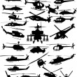 Different helicopters isolated on white - Stock Vector