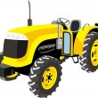 Yellow Tractor isolated on white — Stock Vector