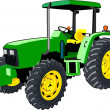 Green Tractor isolated on white - Stock Vector