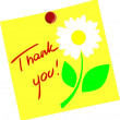 Flower with Thank you isolated on yellow paper — Imagens vectoriais em stock