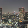 Tokyo skyline and rushing cars at night - Stock Photo