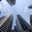 High-rising skyscrapers from below in Singapore — Stock Photo