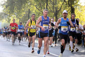 Unidentified runners in the Frankfurt Marathon on October 31, 2010 in Frankfurt, Germany. The race, currently sponsored by Commerzbank, is Germany's oldest city marat — Stock Photo