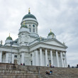 Cathedral of Helsinki and tourists — Stock Photo