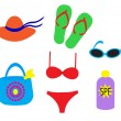 Stock Vector: Beach accessories