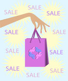 Woman's hand holding a shopping bag on sale — Stock Vector