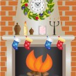 Royalty-Free Stock Vector Image: White Christmas fireplace