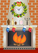 White Christmas fireplace — Stock Vector