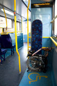 Folding bicycle on a Public Bus — Stock Photo