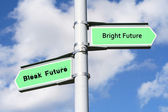 Bright Future, Bleak Future Sign Post — Stock Photo