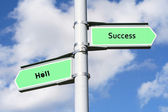 Success, Hell Sign Post — Stock Photo