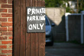 Private Parking only sign — Foto Stock