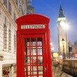 London Telephone Booth and Big Ben — Stock Photo