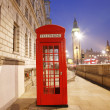 London Telephone Booth and Big Ben — Foto de Stock