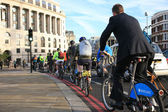 Bicycle commuters in London — Stock Photo