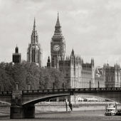 Londons silhuett, westminster palace, big ben och victoria tower — Stockfoto
