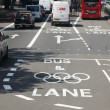 Stock Photo: London Olympic traffic restriction lane