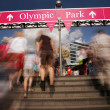 Stock Photo: Spectators walking into Olympic Park