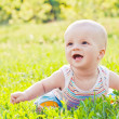 Happy laughing baby sitting on the grass — Stock Photo